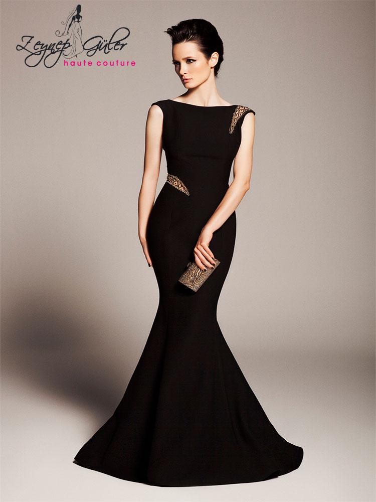 Closh-Yeni-Koleksiyon-2014-2015-Siyah-Renkli-Kolsuz-Balık-Formlu-Uzun-Abiye-Elbise-Modeli